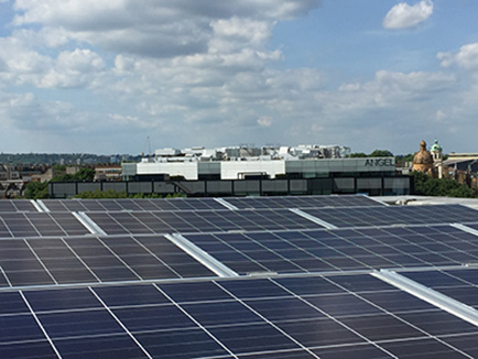 Photovoltaic cells on Sadler's Wells roof